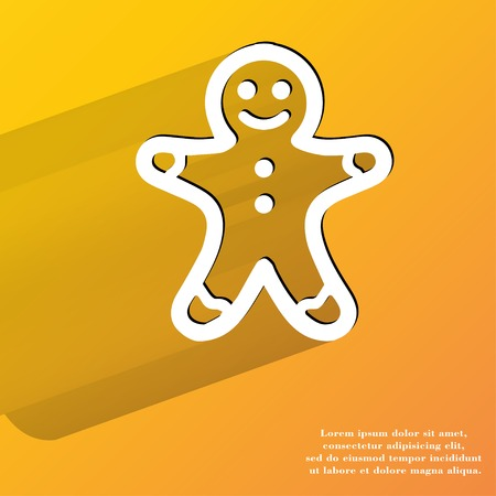 gingerbreadman: Gingerbread. Flat modern web button with long shadow and space for your text. . Stock Photo
