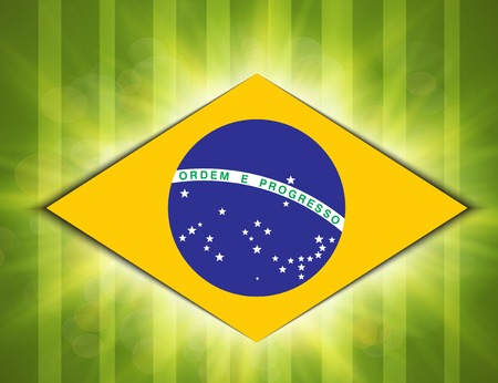 Illustration football card in Brazil flag colors. . illustration