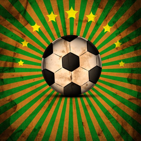 Retro Illustration football card in Brazil flag colors. Soccer ball. . illustration