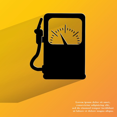 Gas, fuel station. Flat modern web button with long shadow and space for your text. . photo