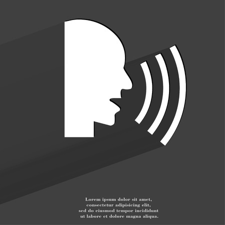 loudy: talking. Flat modern web button with long shadow and space for your text. . Stock Photo
