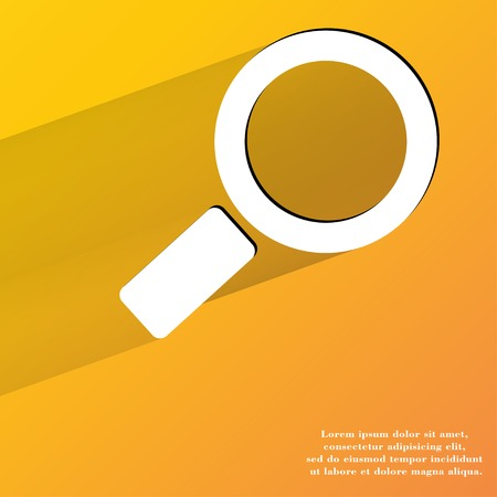 zoom in: Search magnifier. Flat modern web button with long shadow and space for your text. . Stock Photo