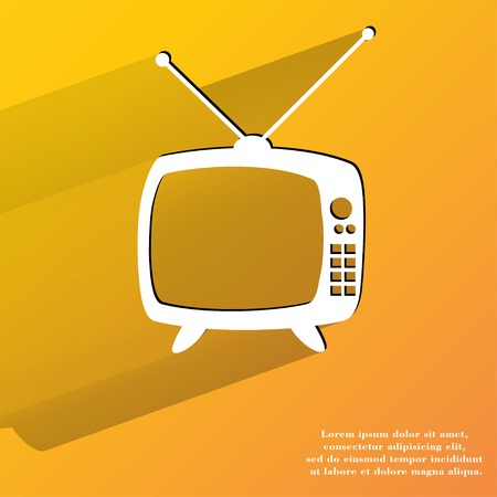 Retro tv. Flat modern web button with long shadow and space for your text. . photo