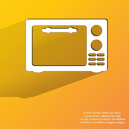 microwave. kitchen equipment. Flat modern web button with long shadow and space for your text. . photo
