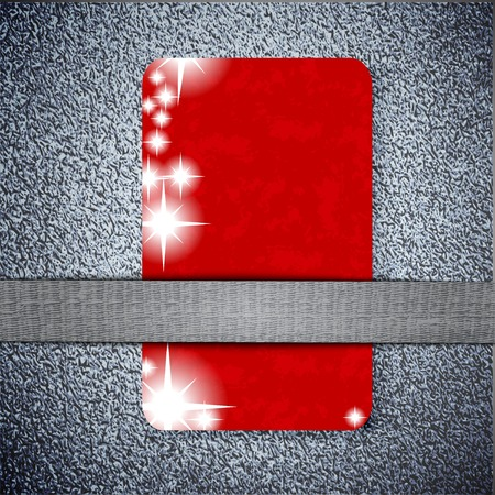 red card  texture on a metal background with place for your text. . photo