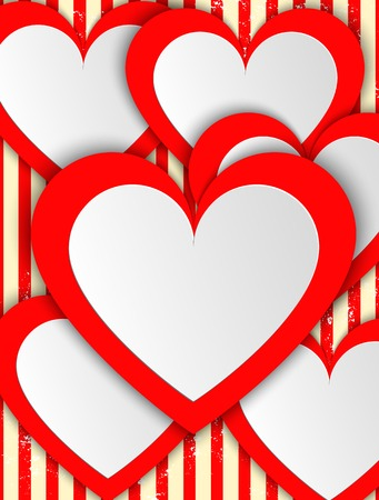 Valentines day.  Modern abstract background illustration with red hearts. . illustration