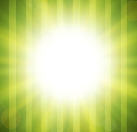 Abstract green blurry background with overlying semi transparent circles, light effects and sun burst. .