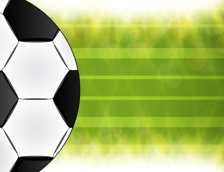 Soccer ball on green background poster design with place for text. . photo