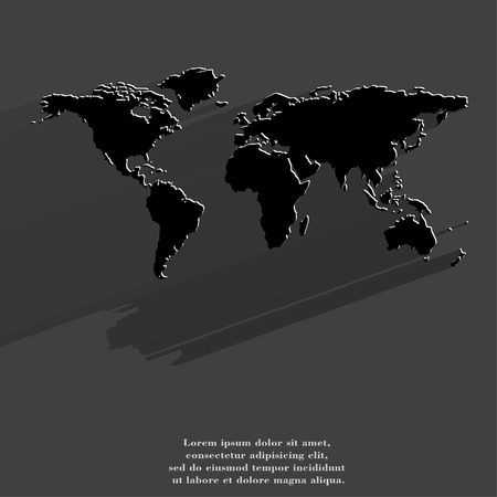 World map web icon, flat design.  illustration. illustration