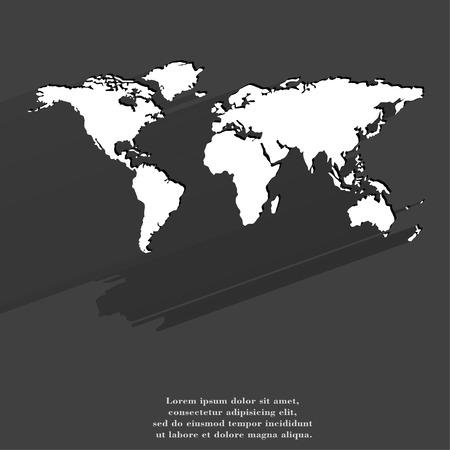 World map web icon, flat design.  illustration. illustration