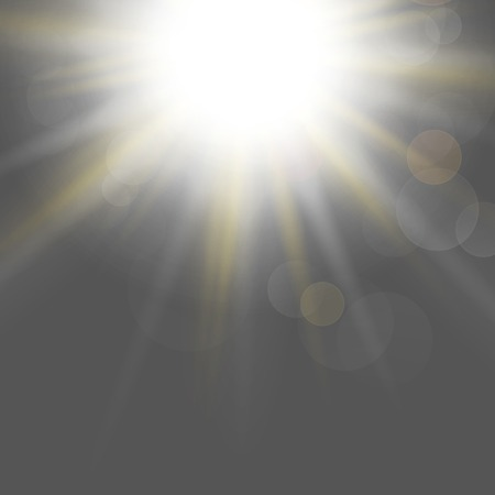 overlying: Abstract blurry background with overlying semi transparent circles, light effects and sun burst. . Stock Photo