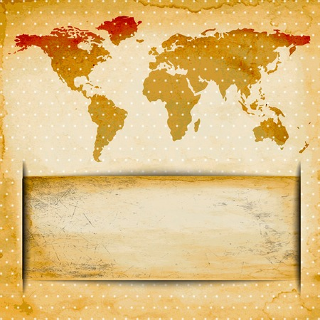 Abstract Old grungy paper and world map background with texture space for your text. . photo