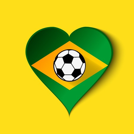 Brazil Heart icon with Brazilian Flag. . photo