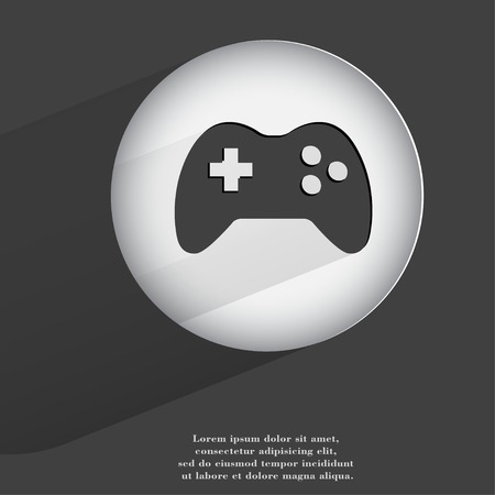 playstation: joystick. Flat modern web button with long shadow and space for your text. . Stock Photo