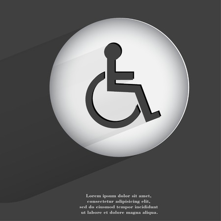 disabled. Flat modern web button with long shadow and space for your text. . photo