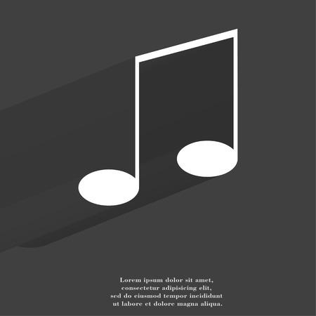 Music elements notes web icon, flat design.  illustration. illustration