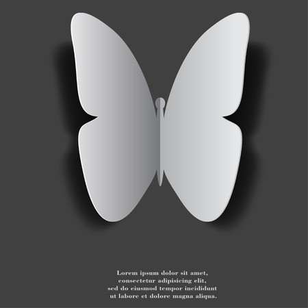 butterfly. Flat modern web button with long shadow and space for your text. . photo