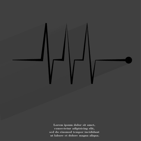 heart rhythm. Flat modern web button with long shadow and space for your text. . photo