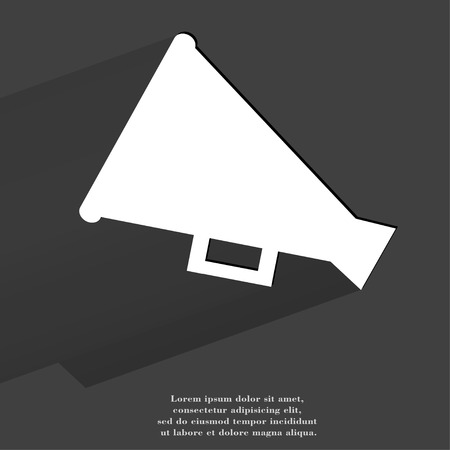 loudhailer: Meg�fono, meg�fono. Bot�n plano web moderno con una larga sombra y el espacio para el texto. .