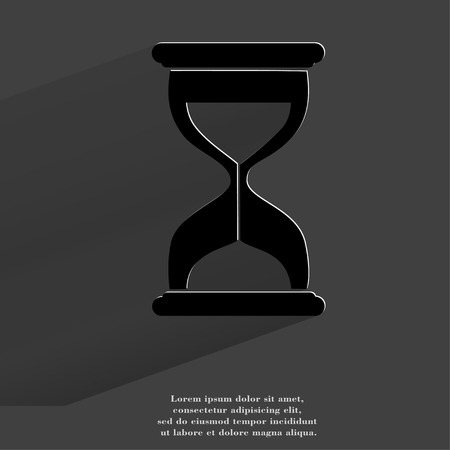 Sand clock. Glass timer . Flat modern web button with long shadow and space for your text. . photo