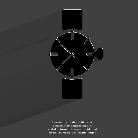 Watch,clock. Flat modern web button with long shadow and space for your text. . photo