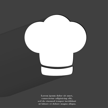Chef cap. Cooking. Flat modern web button with long shadow and space for your text. . photo