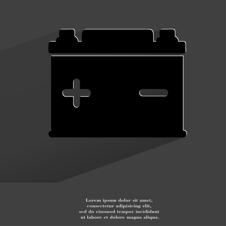 Car battery. Flat modern web button with long shadow and space for your text. . photo