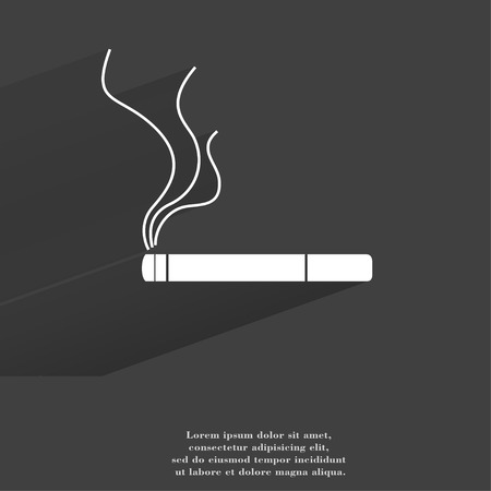 Smoking sign. cigarette. Flat modern web button with long shadow and space for your text. . photo