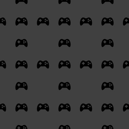 joypad: Gaming Joystick web icon. flat design. Seamless pattern.