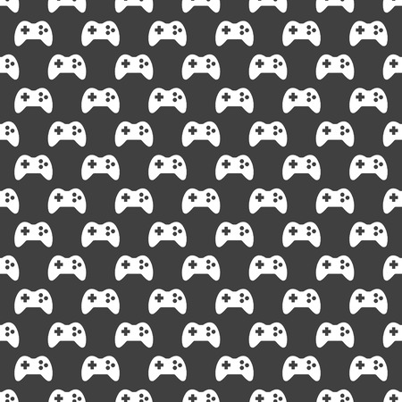 Gaming Joystick web icon. flat design. Seamless pattern.   Vector