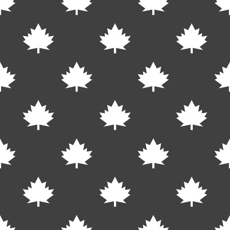 maple Leaf icon. flat design. Seamless gray pattern.  Vector
