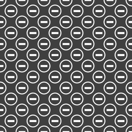 minus web icon. flat design. Seamless pattern.  Illustration