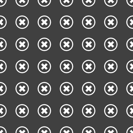 cancel  web icon. flat design. Seamless pattern.  Vector