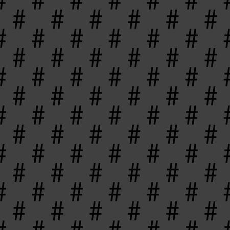 hash: hash tag icon. flat design. Seamless pattern.   Illustration