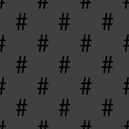 hash: hash tag icon. flat design. Seamless pattern.   Illustration