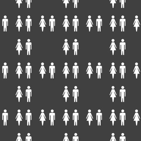 mannen en vrouwen: silhouette men, women web icon. flat design. Seamless gray pattern.