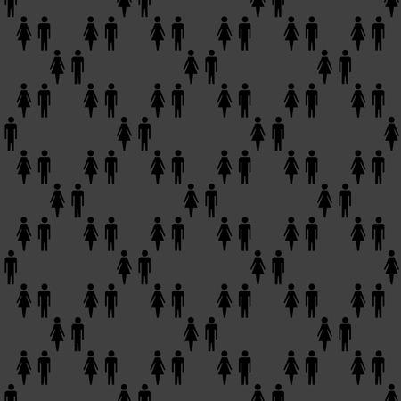 mannen en vrouwen: silhouet mannen, vrouwen web pictogram. plat ontwerp. Naadloze grijs patroon.