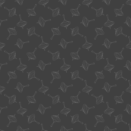 spinning top: spinning top icon. flat design. Seamless gray pattern.   Illustration