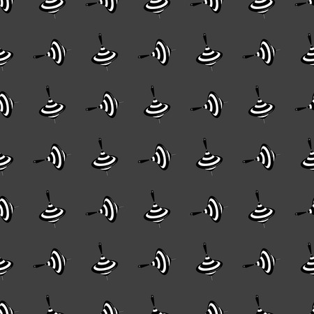 spinning top: spinning top icon. flat design. Seamless gray pattern.