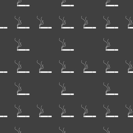 Smoking sign. cigarette flat design. Seamless gray pattern.   Vector