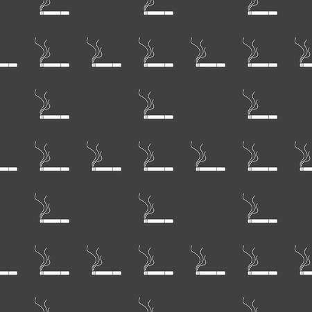 Smoking sign. cigarette flat design. Seamless gray pattern.   Vector