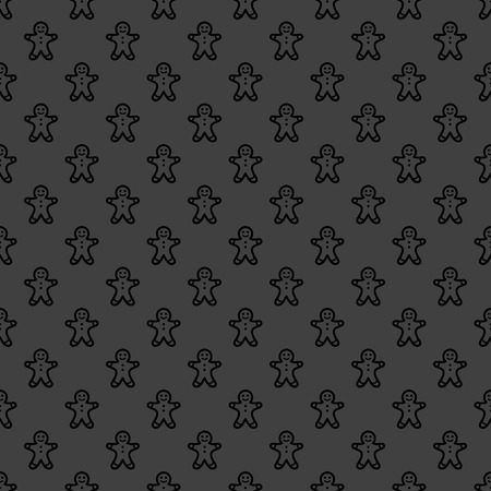 gingerbreadman: Gingerbread web icon. flat design. Seamless gray pattern.