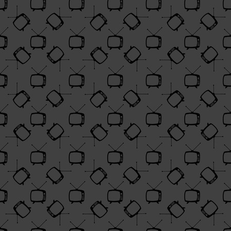 Retro tv web icon. flat design. Seamless gray pattern