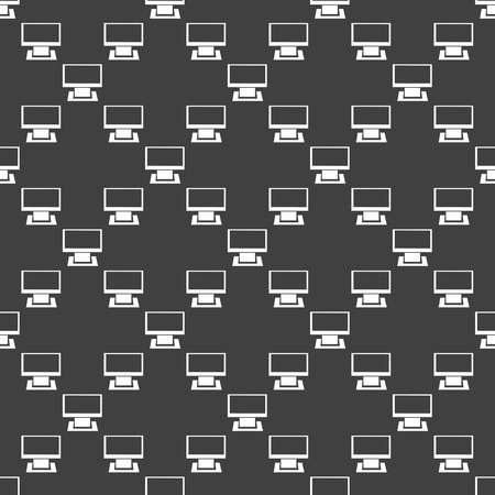 Computer web icon. flat design. Seamless gray pattern.   Vector