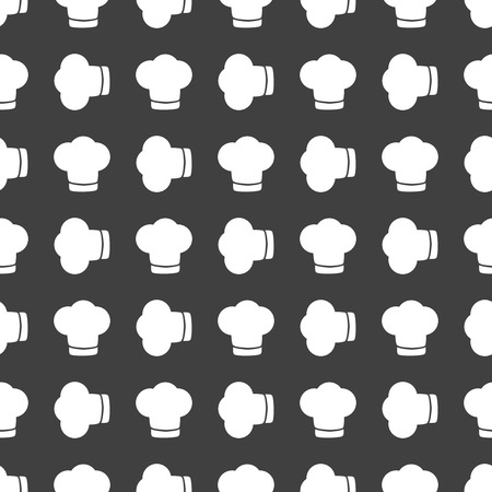 cook out: Chef cap web icon. flat design. Seamless gray pattern.   Illustration