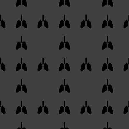 Human lung web icon. flat design. Seamless gray pattern.   Vector
