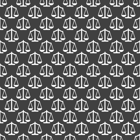 Scales balance web icon.  flat design. Seamless gray pattern.  Vector