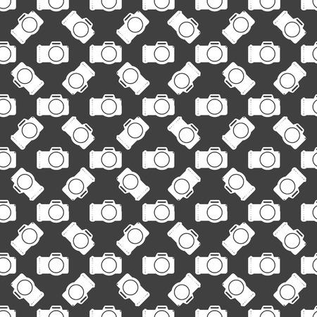 photocamera: Photo camera web icon flat design. Seamless gray pattern. Stock Photo