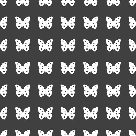 butterfly web icon. flat design. Seamless gray pattern. photo