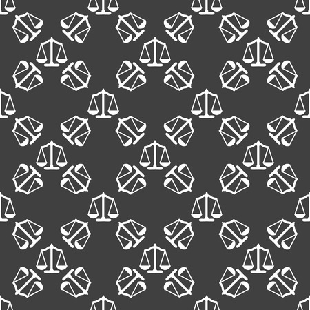 Scales balance web icon. . flat design. Seamless gray pattern. photo